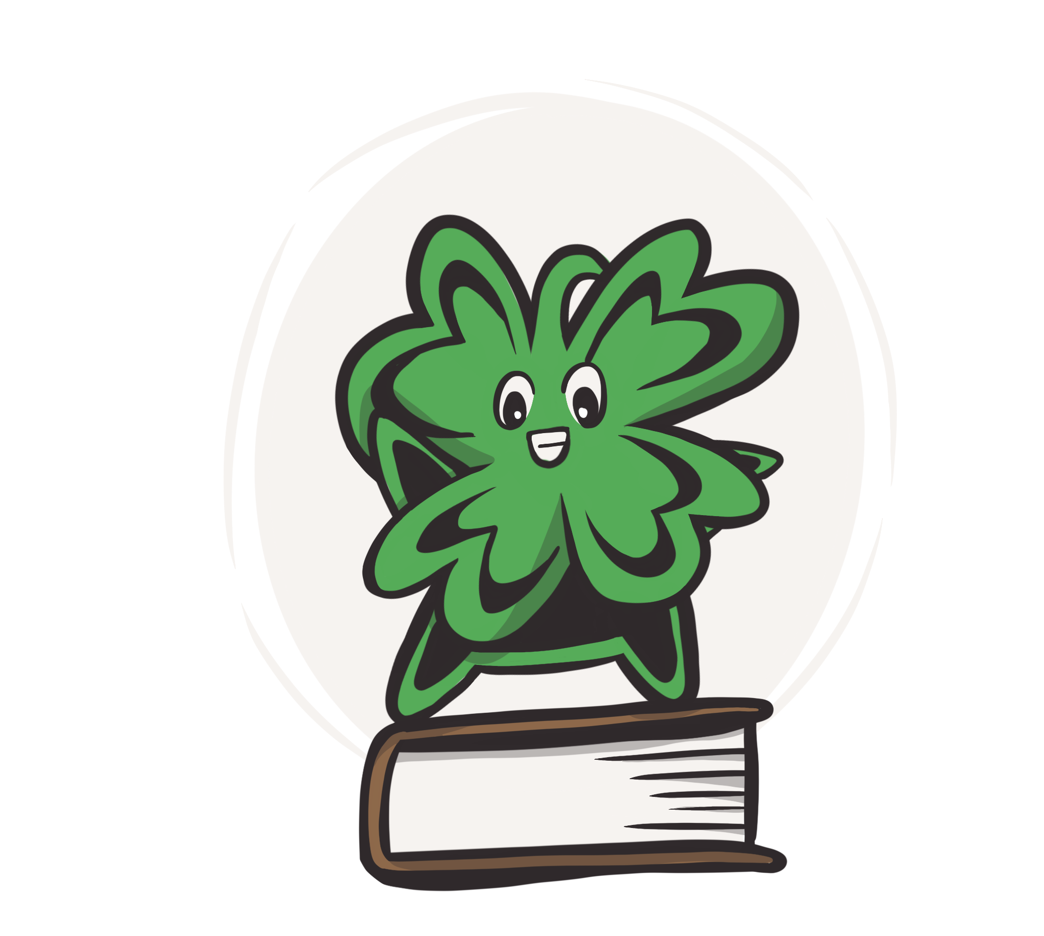 a four leaf clover character standing on book